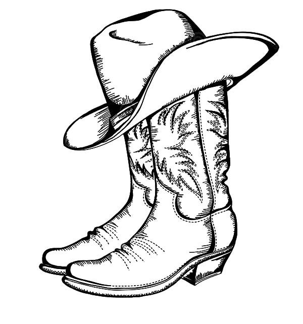 Cowboy Boots And Hat Coloring Pages : Kids Play Color