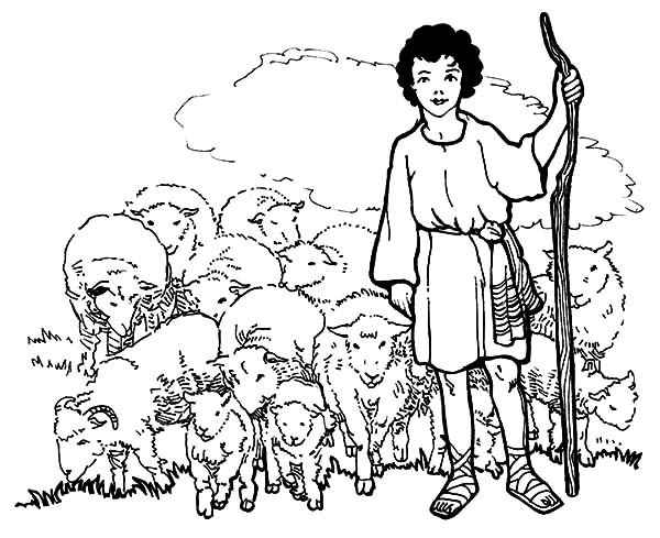 David The Shepherd Boy And His Sheeps Coloring Pages