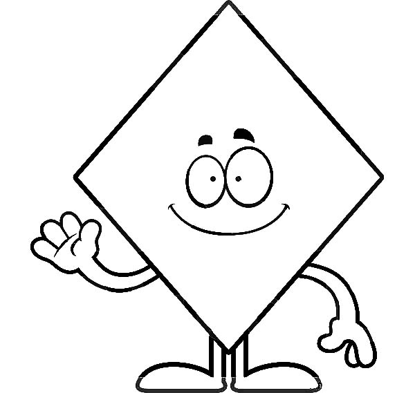 Diamond Shape Waving Hand Coloring Pages : Kids Play Color