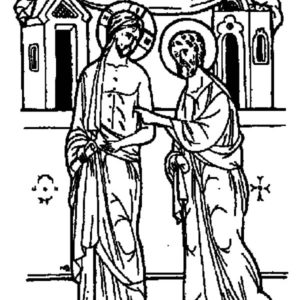 Doubting Thomas Checking Wound On Jesus Chest Coloring