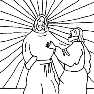 Doubting Thomas Ask Jesus To Show His Wound Coloring Pages