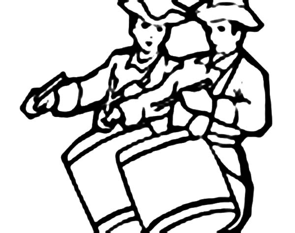 Drummer Boy Play Drum Together Coloring Pages : Kids Play