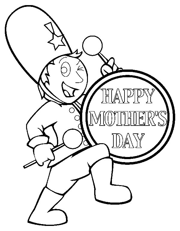 Drummer Boy Play Drum To Celebrate Mother Day Coloring