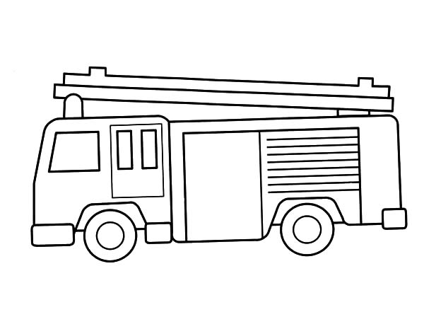 Fire Engine Outline Coloring Pages : Kids Play Color