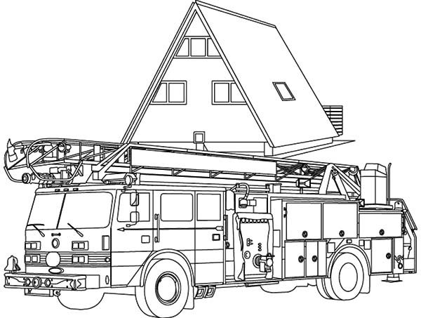 Fire Engine At Head Quarter Coloring Pages : Kids Play Color