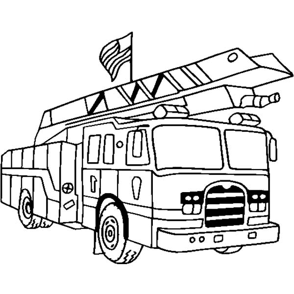 Fire Engine With US Flag Coloring Pages : Kids Play Color