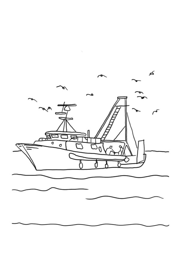 Fishing Boat With Seagulls Coloring Pages : Kids Play Color