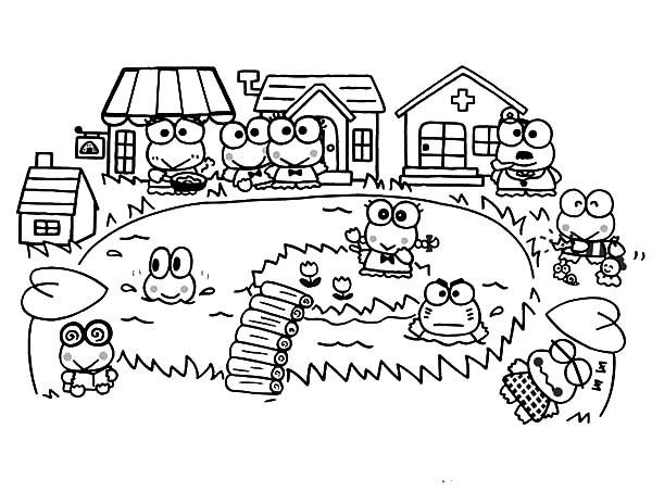 Kero Kero Keroppi Village Coloring Pages : Kids Play Color