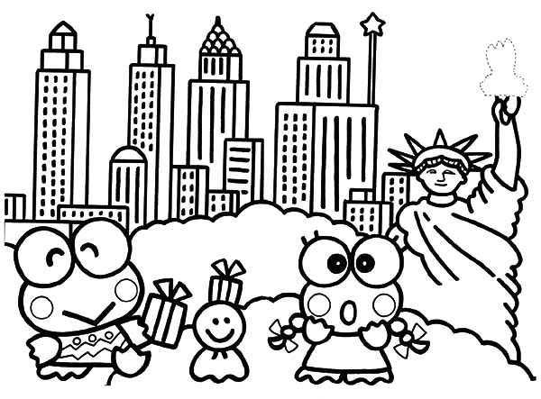 Kero Kero Keroppi In New York Coloring Pages : Kids Play Color