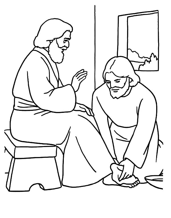 Kindness Jesus Washing Feet Coloring Pages : Kids Play Color