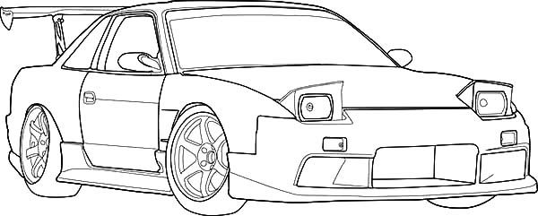 S13 Drifting Cars Coloring Pages : Kids Play Color