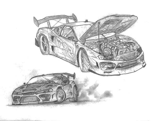 Sketch Of Drifting Cars Coloring Pages Kids Play Color