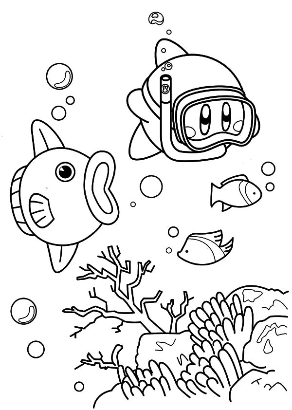 Snorkle Kirby Coloring Pages : Kids Play Color
