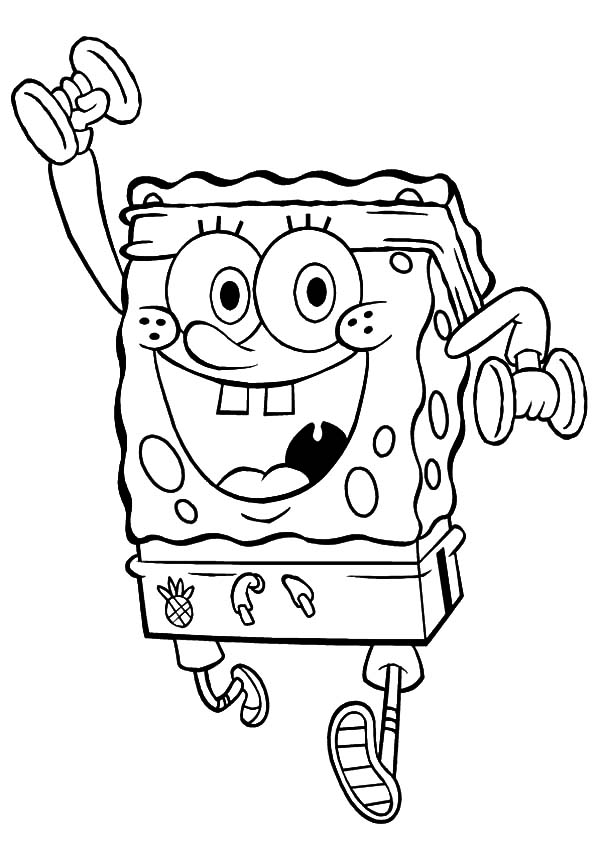 Spongebob Exercise With Dumbbells Coloring Pages : Kids