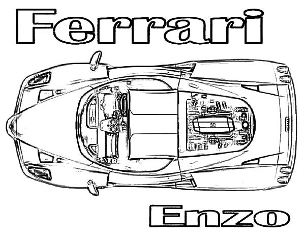 Top View Ferrari Enzo Cars Coloring Pages : Kids Play Color