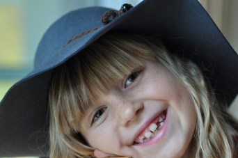 happy girl with hat