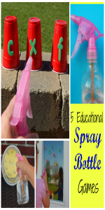 Improve your child's academic skills with letters, numbers, shapes, and words in these fun spray bottle games!