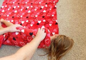 rolling up blanket
