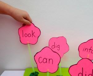 picking spelling flowers