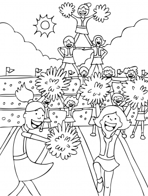 Cheerleading Coloring Page