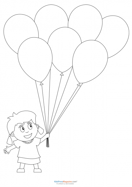 girl balloons colourin