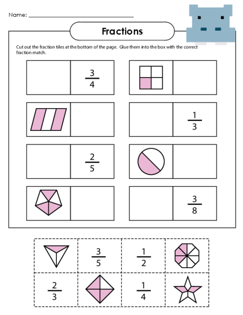Number Names Worksheets  Basic Fraction Worksheet