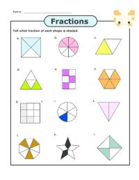 Fraction Worksheets  Basic Fraction Worksheets