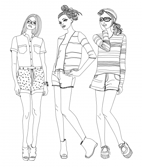 Free Fashion Design Croquis Sketch Coloring Page