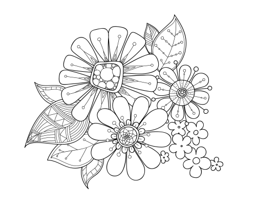 Flowers Advanced Coloring Page 13