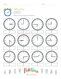 Telling Time Quarter Hour Worksheet #4