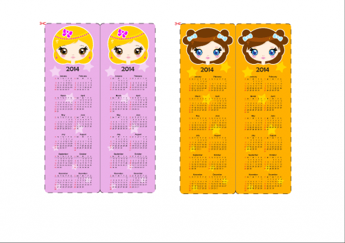 Calendar Bookmark Pink And Yellow Girls