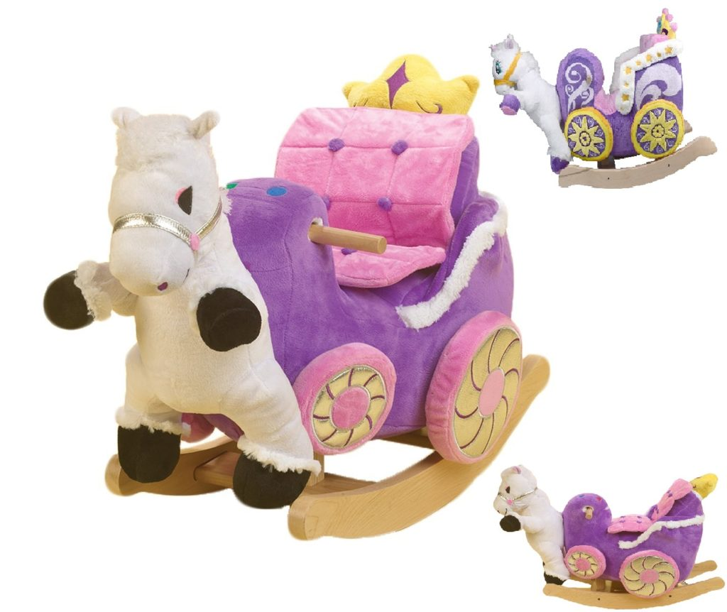 plush animal rocking chairs papasan chair frame and base rockabye horse with ride on toy baby