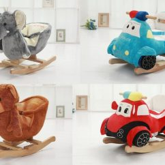 Plush Animal Rocking Chairs Counter Height Office Stuffed Animals And Vehicles With Safety Padded Seats Belts For Babies ...