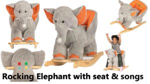 plush animal rocking chairs two seater garden table and elephant with seat for babies toddlers rockin rider rocker ride on toy
