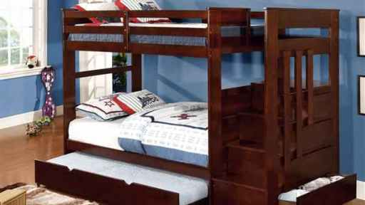 """Amber Abu"" Espresso Twin over Twin Bunk Bed with Trundle"
