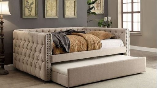 """Colleen Camel"" Tufted Ivory Daybed w/Trundle – Twin and Full"