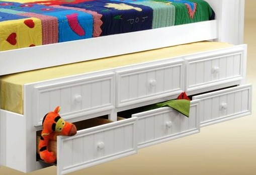 Full Size white beadboard Captains Bed with Storage Drawers- kidsroom.vip