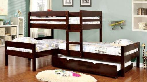 """Kids' Mission"" Espresso Triple Bunk Bed with Trundle"