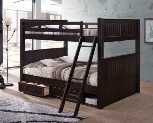 Queen over Queen Bunk Bed with Storage | Espresso Color- kidsroom.vip