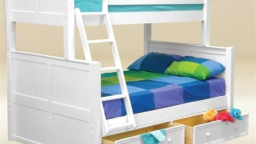 white Angel Twin Full Bunk Bed with Storage - kidsroom.vip