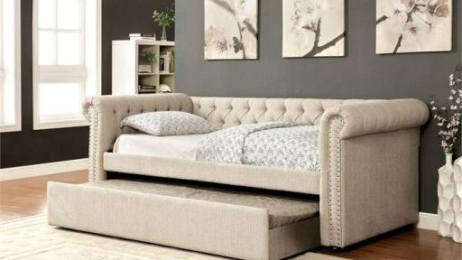 """Rebecca Princess"" Beige Tufted Daybed w/ Trundle in Twin, Full or Queen"