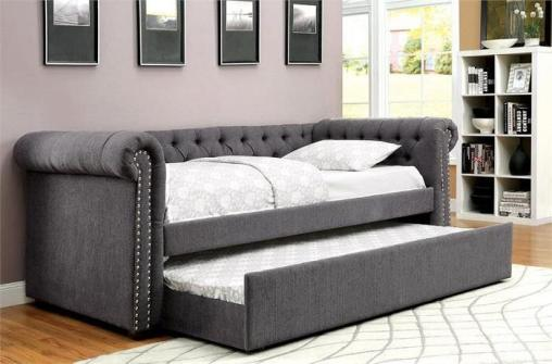 Grey Tufted Daybed with Trundle - availabe in twin- kidsroom.vip