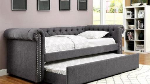 """Rebecca Princess"" Grey Tufted Daybed w/Trundle ""Twin Full or Queen Size"""