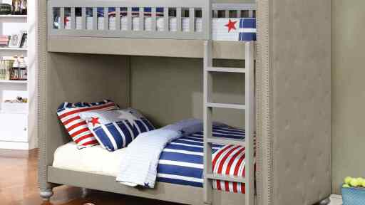 """Princess Leah"" Contemporary Gray Padded Linen Twin over Twin Bunk Bed"