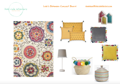 Colourful boho mustard and grey girl's room concept