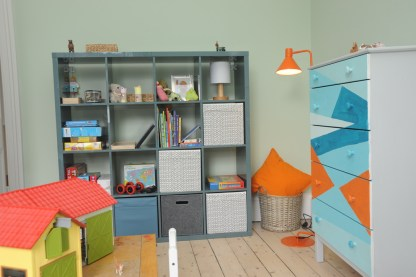 Cube storage for toys and painted chest of drawers