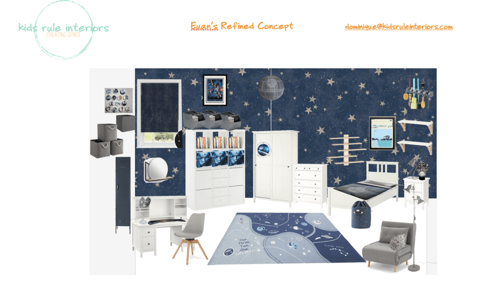 a navy blue space themed boy's room with white furniture and Star Wars accents