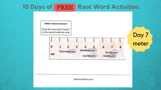 Day 7 Root Word Meter Activity Sheet Kids Vocabulary