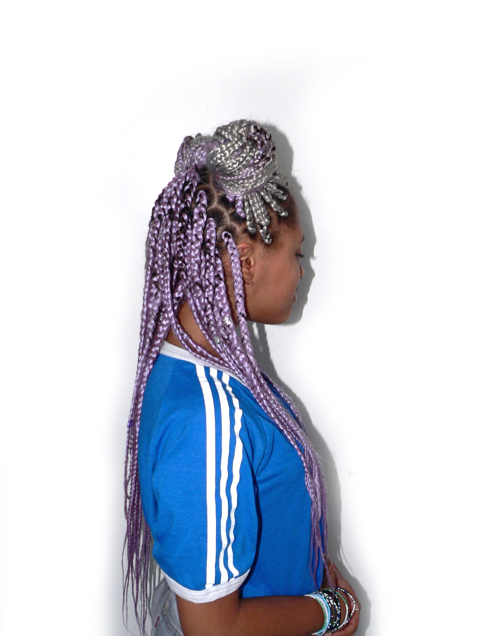 Large Sized Mauve Box Braids Kids With Curls
