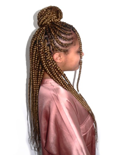 cornrowed braids in bun